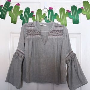 Zara Boho Gray Embroidered Bell Sleeve Blouse